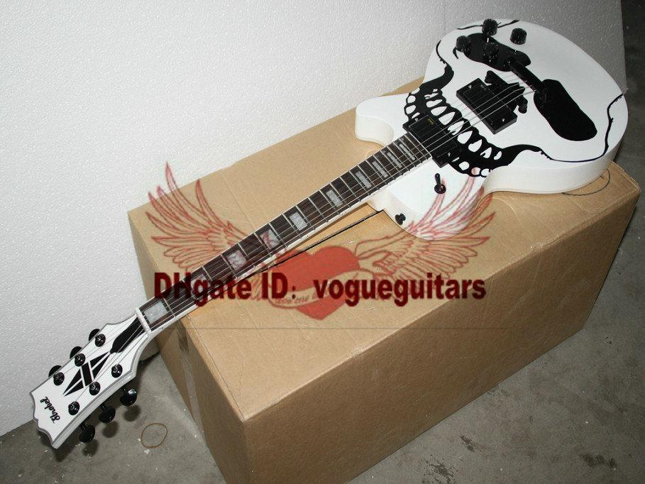 Custom The skeleton pattern white Electric Guitar electric guitar for sale Free shipping