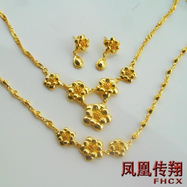 Brides Three Sets of Goldplated Jewelry Set Wedding Jewelry