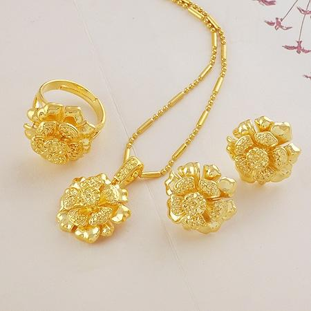 Wholesale Rose Wedding Jewelry Sets Bridal Suite Of High Imitation