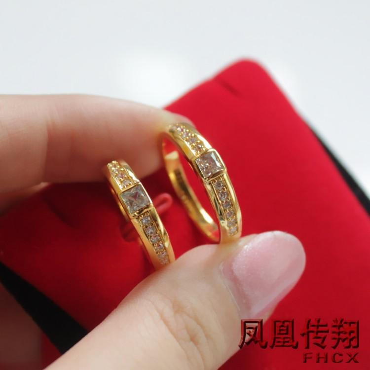 tanabata gift couple married couple ring on the ring couple rings 24k gold plated jewelry wholesale navel bell button rings body jewelry jewelry online