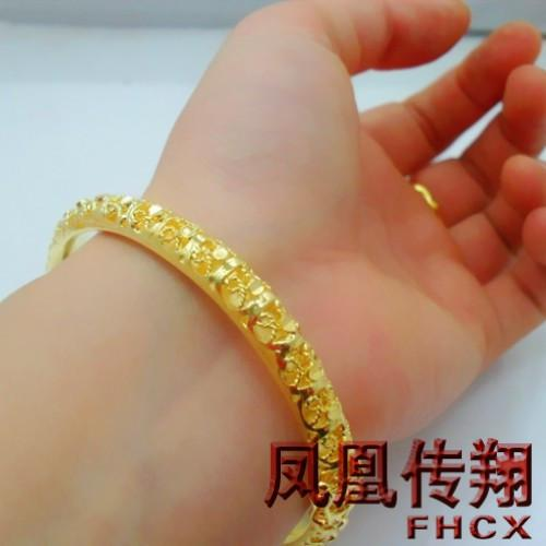 inches link cuban yellow gold bracelet hollow