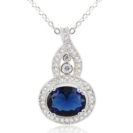 Специальный дизайн женщины круглый синий сапфир тыква стерлингового серебра 925 кулон ожерелье NAL P066