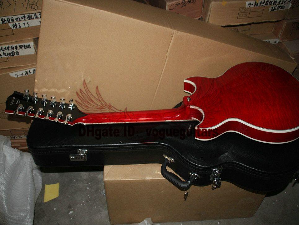 일렉트릭 기타 무료 배송 조니 할로우 바디 재즈 기타 왼손잡이 12 현 기타