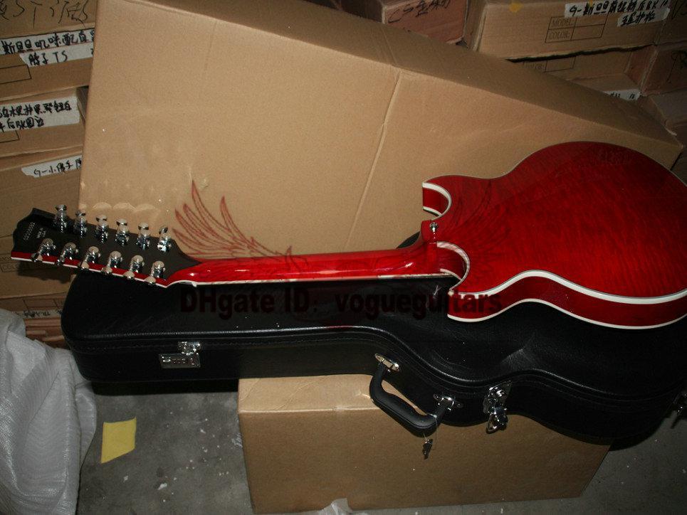 Custom Shop 12 cordas guitarra guitarra mão esquerda Johnny oco corpo jazz Guitarra Elétrica Frete Grátis
