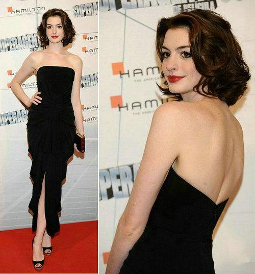 Anne Hathaway Strapless Evening Dresses 2013 Chiffon Black Sheath ...
