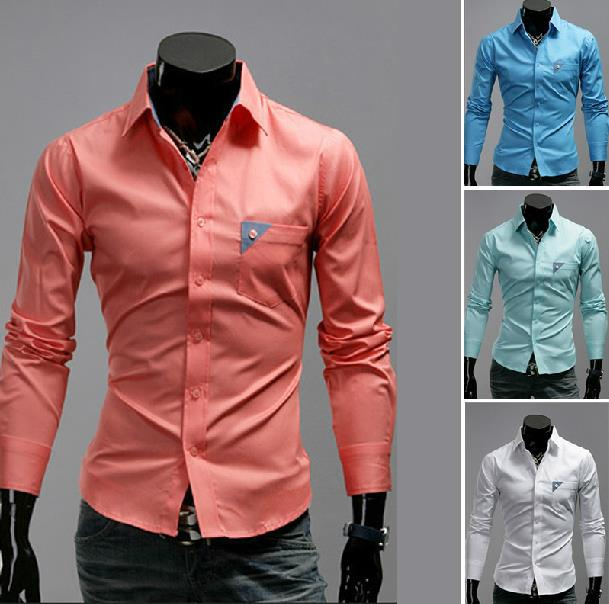 2017 2013 Summer Mens Pure Color Cotton Long Sleeve Shirt Men ...