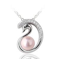 ingrosso ciondolo perla di cigno-Royal Lady Pink Shell Pearl Swan S925 Collana con ciondolo in argento sterling PRL P062