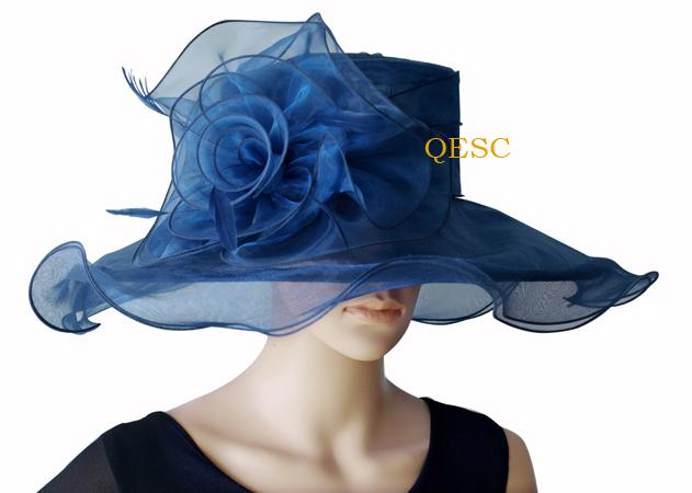 Wide brim bridal wedding dress Organza Hat Church Hat sinamay fascinator for derby,black,pink,navy,lilac, BY EMS,
