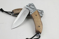 Wholesale China Camps - China EDC Pocket Knife 57HRC Blade Wood Hanlde Folding Survival Rescue Tool Outdoor Camping Hiking Gear Best Gift Knives F579L