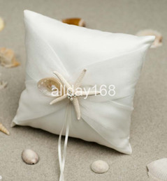 Wholesale Pillows Star Design - Hi-Q Wedding favors sea star design white Satin Ring Pillow for Wedding Ceremony Party Stuff Accessories
