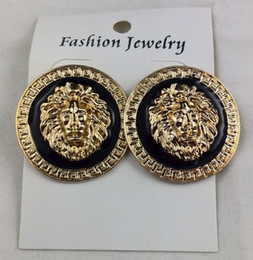 Wholesale Earring Heads - NEW 14 Gold Plating Jewelry Black Lion Head Stud Earrings Gold Charm Jewelry Min Order is 2pairs Freeshipping