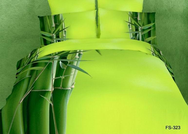 Bamboo Design Green Yellow Comforter Bedding Set Queen