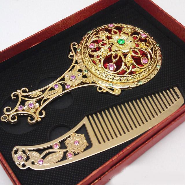 Flor antiga Mosaico Espelho De Cobre Do Vintage Compacto Portátil Espelho de Maquiagem e Pente Conjunto de Favores Do Casamento Caixa De Presente Embalagem HZ039