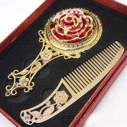 Wholesale Compact Mirrors Engrave - Antique Flower Mosaic Copper Mirror Vintage Portable Compact Makeup Mirror and Comb Set Wedding Favors Gift Box Packing HZ039