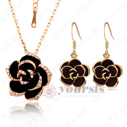 Wholesale Gemstone Flower Pendant - Yoursfs Dazzle Flash Black Flower Pendant Necklace 18 K Rose Gold Plated Use Crystal Necklace&Earring Gemstones Jewelry Sets S010R1