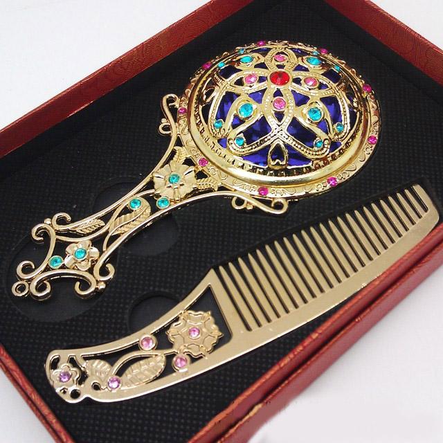 Antique Flower Mosaic Copper Mirror Specchio e pettine il trucco compatto portatile vintage Set Bomboniere confezione regalo HZ039