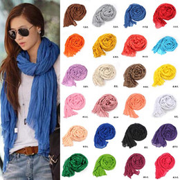 Wholesale Long Scarf Wrap - 044 promotion new pure linen fold super long big shawl women sexy fashion cheap multicolor punk scarf scarves wraps free shipping