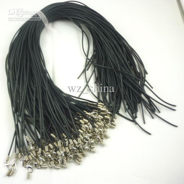 100 stks Zwart Real Lederen Ketting Koord 1.8mm Sieraden Accessoires Bevindingen Gratis Verzending