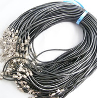 Wholesale Real Leather Jewelry Cord - 100pcs Black Real Leather Necklace Cord 1.8mm Jewelry Accessories Findings FREE SHIPPING