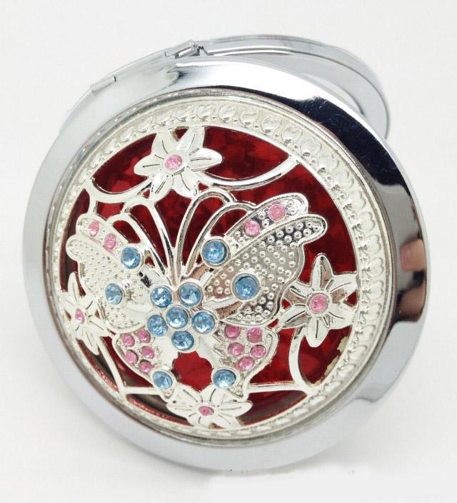 2015 Venda Quente de Prata Padrão de Flor Bonito Espelhos Compactos Espelhos de Maquiagem Cosméticos Make Up Set 10 pçs / lote