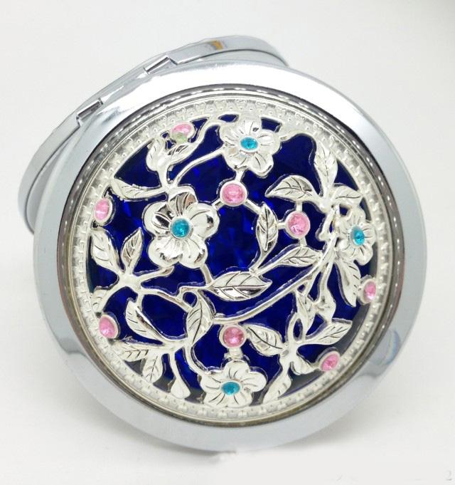 2015 Hot Sale Silver Flower Pattern Cute Compact Mirrors Cosmetic Magnifying Mirrors Make Up Set
