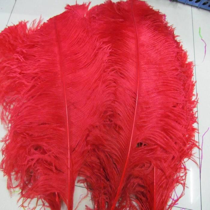 Atacado-TRANSPORTE LIVRE 50 unidades / lote 24-28inch 60-70cm penas vermelhas avestruz para Centerpieces do casamento, decorações do evento do partido