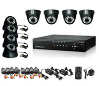 Wholesale 8ch h 264 - 8CH H.264 Surveillance DVR 8PCS DOME Day Night Security Camera CCTV System with 500GB HDD H030