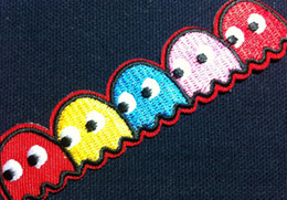 Wholesale Wholesales Pieces Game of Pac Man x cm Embroidered Iron On Applique Patch Punk Patch