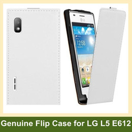 Wholesale Lg L5 Flip - Wholesale Fashion Genuine Leather Flip Case for LG E612(Optimus L5) With Magnetic Closure 10pcs lot Free Shipping