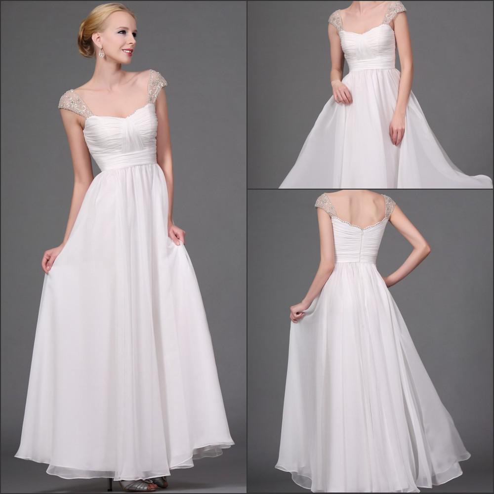 Wedding Gowns With Cap Sleeves: Discount Elegant Cap Sleeve A Line Wedding Dress Beaded