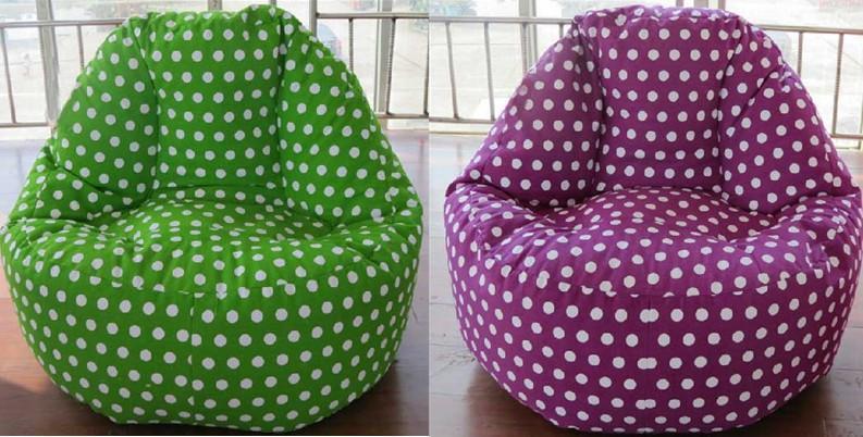 purple bean bag chair amazon walmart lavender with removable cover green beanbag polka