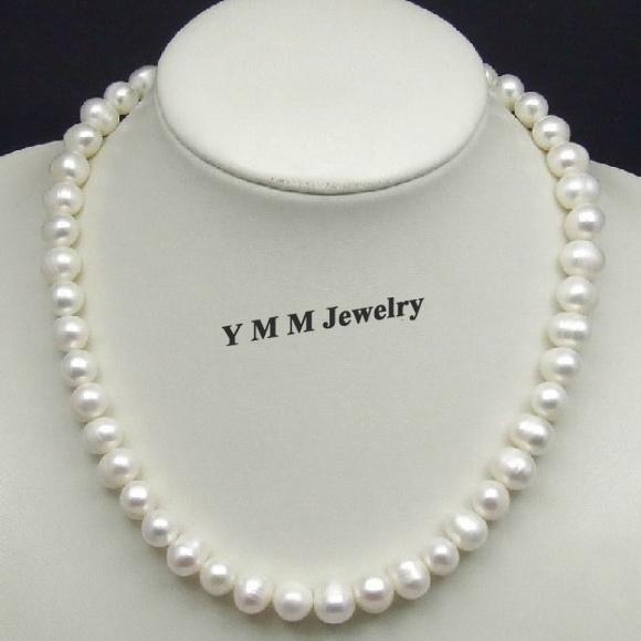 Collana perle bianche personalità, collana di perle d'acqua dolce da 10 mm, gioielli originali perla naturale