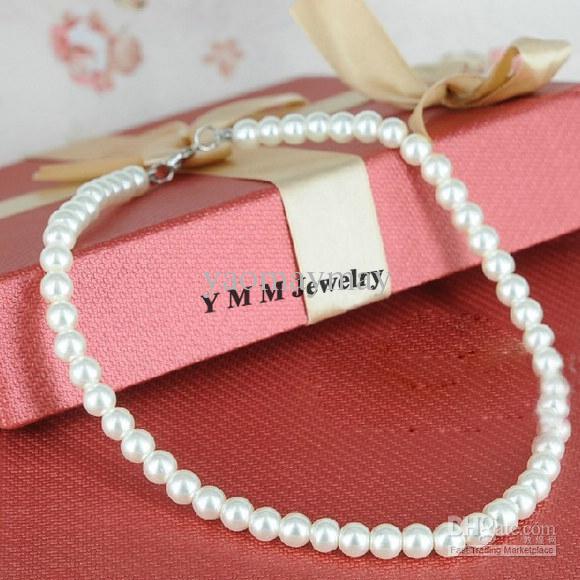 Moda 8mm Branco Imitação Pérola Colar para Promoção, Imitação Pearl Shopers Frete Grátis