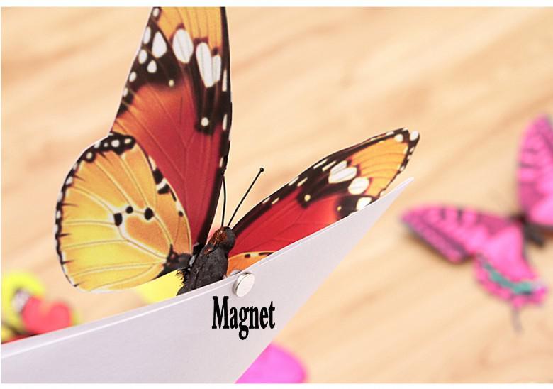 Neuer Kühlschrankaufkleber Ausgangsdekoration bunter dreidimensionaler kleiner Simulations-Schmetterling mit Magneten geben Verschiffen frei