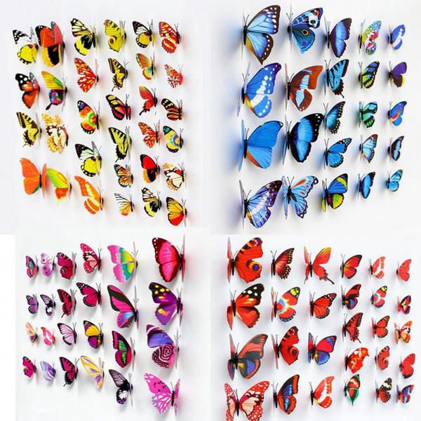 Neuer Kühlschrankaufkleber Ausgangsdekoration 300pcs bunter dreidimensionaler kleiner Simulations-Schmetterling mit Magneten geben Verschiffen frei