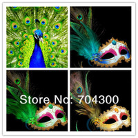 Wholesale half face masks masquerade ball online - Ball Party Venetian Masquerade Pheasant Peacock Feather Masks Half Face Masks
