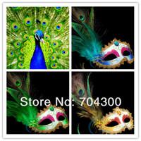 örümcek maskeleri tavuskuşu tüyleri toptan satış-Top Partisi Venetian Masquerade Sülün Tavusu Feather Masks Yarım Yüz Maskeleri
