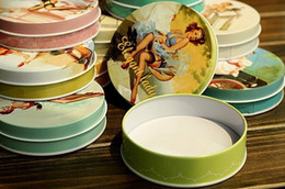 Wholesale Girls Jewlery - Jewlery box 9.5 cm diameter Round Beauty girl pattern storage box tin case