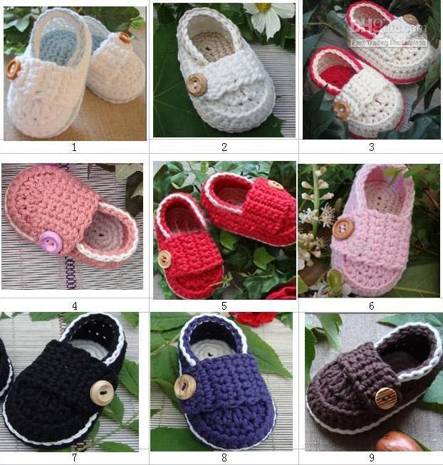 Compre Ganchillo Bebé Zapatos Mocasines De Chicas Chicos Botines ...