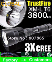 Wholesale trustfire cree battery - Flashlight Trustfire 3T6 3 T6 5 Mode 3800 Lumens 3* CREE XM-L LED Flashlight High Power+3*battery+charger high power ON SALE free shipping
