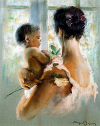 Wholesale Mother Child Oil Painting - Restaurant Wall Decor Impression Mother And Child Oil Paints Completely Handmade Oil Painting Home Decoration Wall Art On Canvas