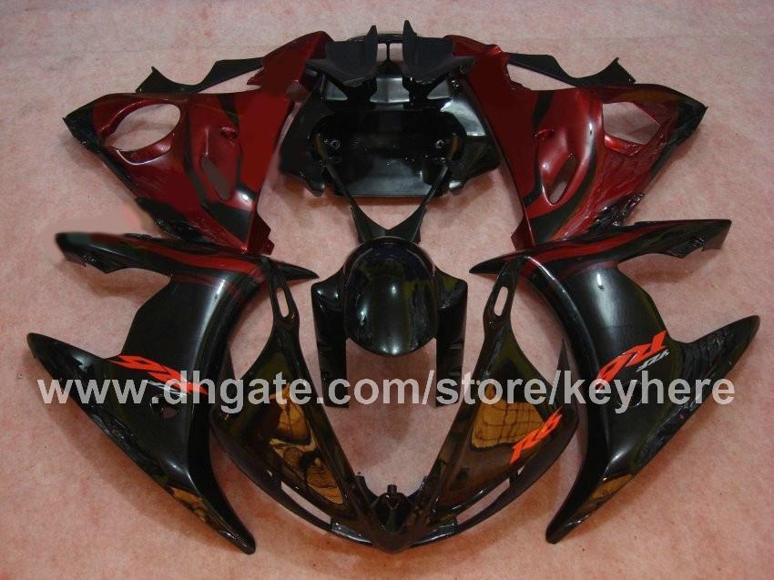 Personalizar el kit de carenado de plástico ABS para YZF-R6 2003 2004 YZFR6 2003 2004 YZF R6 03 04 carenados G4c negro rojo mercado de accesorios de la motocicleta trabajo del cuerpo
