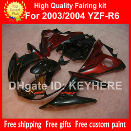 Discount motorcycle r6 body kit - Customize ABS plastic fairing kit for YZF-R6 2003 2004 YZFR6 2003 2004 YZF R6 03 04 fairings G4c black red aftermarket m