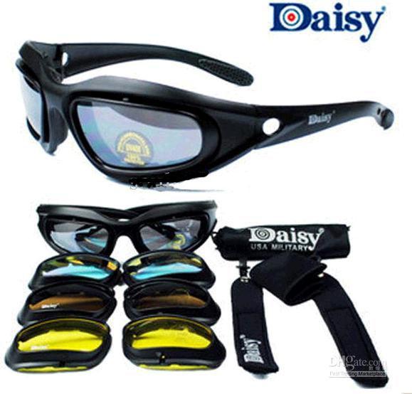 Daisy c5 não c3 ou c4 tempestade do deserto óculos de sol 4 lentes óculos óculos táticos para airsoft ciclismo equitação óculos uv400 eyewear