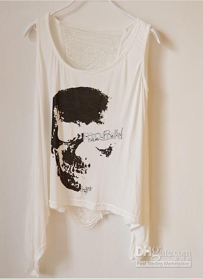 Kafatası Kafaları Hollow T Gömlek Backless Püsküller Tank Top Yelek T-shirt siyah Kadınlar Kız Sadece alıcı