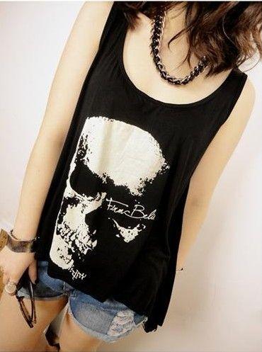 Skull Heads T-shirt Creux Débardeur Débardeur Débardeur T-shirt noir Femme Fille uniquement acheteur