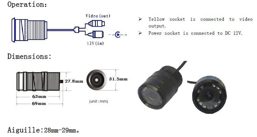 9 cámara de visión trasera del CCD del color de la visión nocturna del IR LED, prenda impermeable, a prueba de choques, antiempañante, resistencia de alta temperatura, resistencia a la humedad