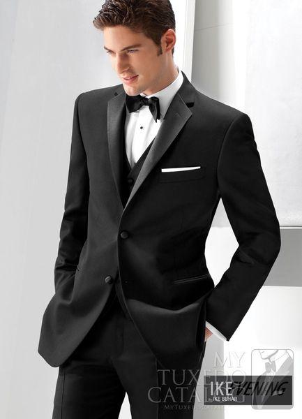 Custom Design Black Notch Lapel Groom Tuxedos Groomsmen Men Blazer Wedding Prom Clothing Suits (jacket+pants+vest+tie) BM:606