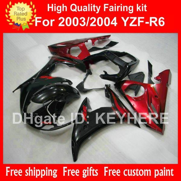 Kit de carenado personalizado para YZF-R6 03 04 YZFR6 2003 2004 YZF R6 2003 04 carenados G7c popular rojo negro mercado de accesorios de la motocicleta piezas de carrocería