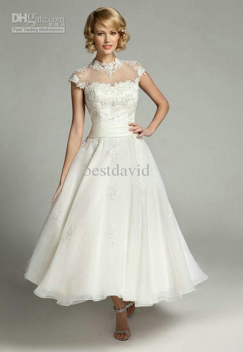 Discount Sheer High Neck Lace Wedding Dresses 2014 Tea Length ...